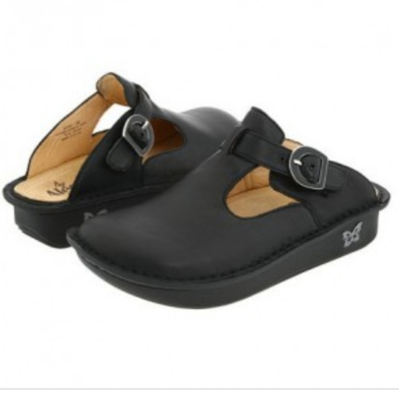 Black Leather Classic Clogs Mules Size